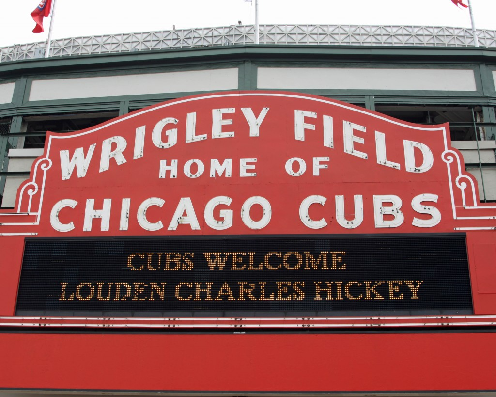 Much appreciation to Justine Boney, the Cubs organization and whomever built this sign outside Wrigley Field