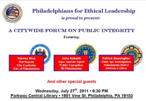 Philadelphians For Ethical Leadership invite you to a forum tomorrow night