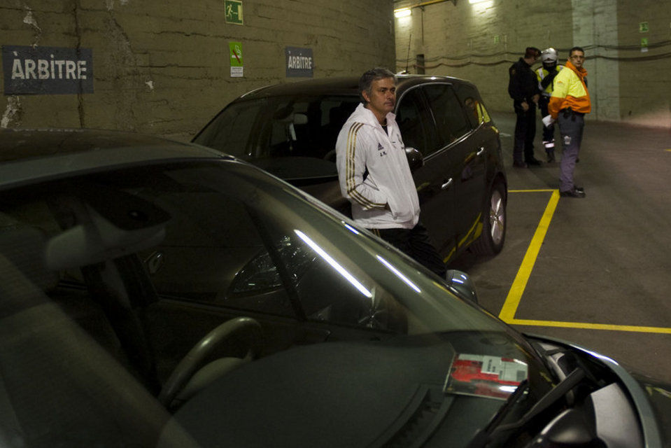 Here's A Picture Of Jose Mourinho, Waiting By A Ref's Car, To Insult Him After El Clasico