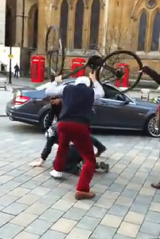 Hey Look, There's An Old Guy Beating People With A Bike