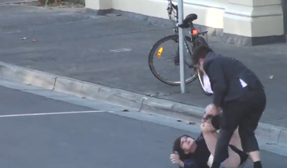 A 'Half-Naked Man And Another Dressed As A Woman' Brawl In An Australian Street