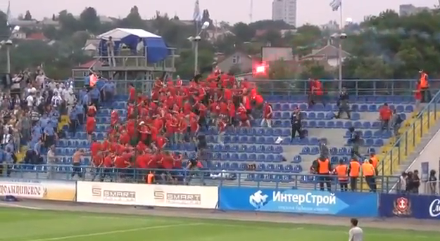 Handball Goal Prompts Ukrainian Hooligans To Throw Chairs With Remarkable Group Precision