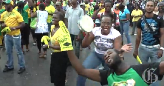Check Out Jamaicans Celebrating Usain Bolt's Win In The 100m
