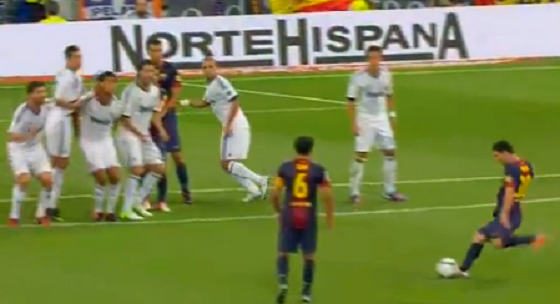 Watch Lionel Messi Strike A Damn-Near-Perfect Free Kick