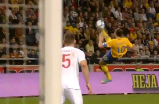 Zlatan Ibrahimovic Scored Four Goals Vs. England, Including A 25+ Yard Overhead Volley