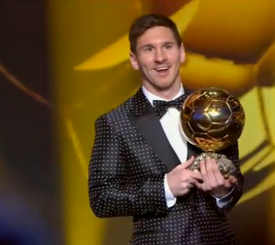 Here's A Photo Of Lionel Messi Winning His Fourth Consecutive Ballon d'Or