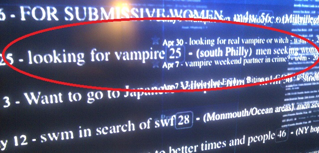 At Least One Guy From South Philly Is Seeking A Lady Vampire