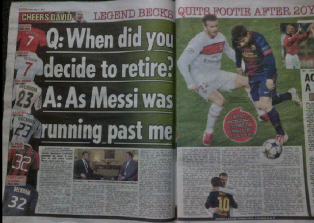 David Beckham Realized It Was Time To Retire When &#8216;Messi Was Running Past Me&#8217;