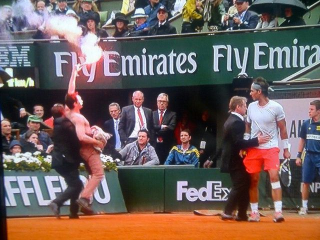 Here's A Picture Of That Protestor Who Interrupted The French Open Men's Championship Match