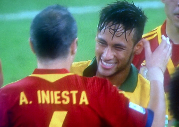 Here's A Great Photo Of Neymar And Iniesta After The Confederations Cup Match