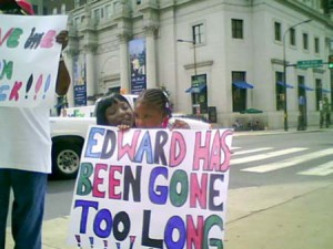 Eddie's sister and niece, outside DHS, when they rallied to get him returned from foster care