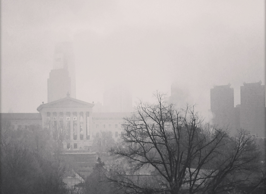 A View Of The Foggy Philadelphia Skyline From Lemon Hill Drive