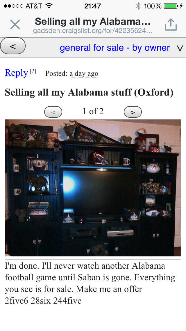Angry Alabama Fan Fails To Realize Internet Is Forever, Offers To Sell All Tide-Related Products And TVs 'Until Saban Is Gone'