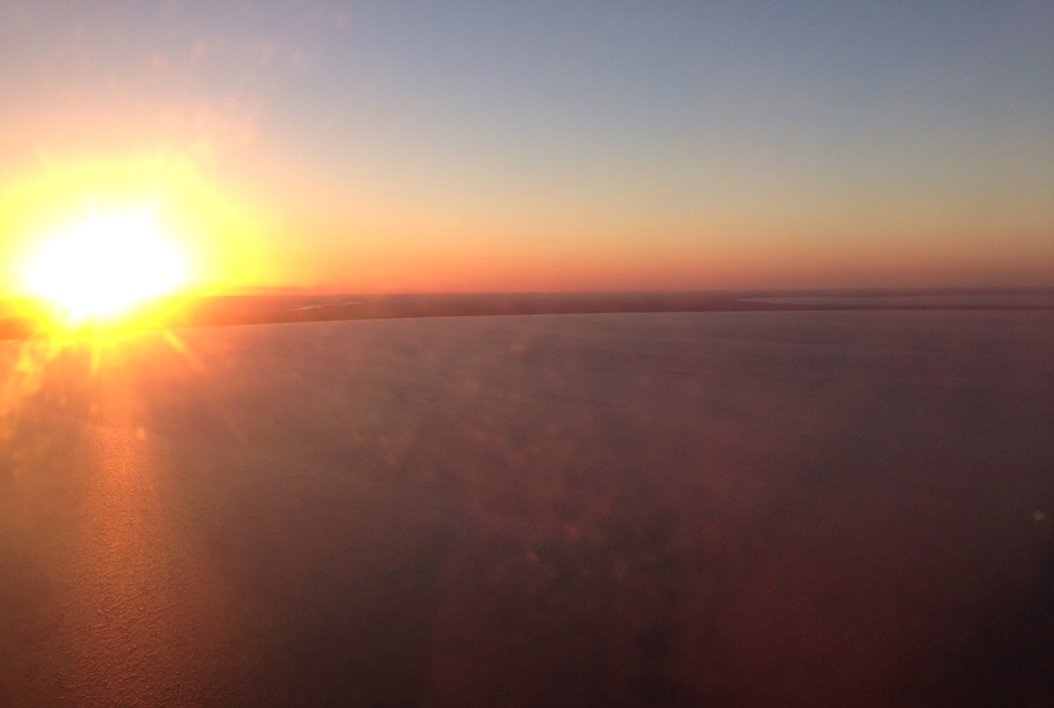 The sunset over New Orleans from the flight into town