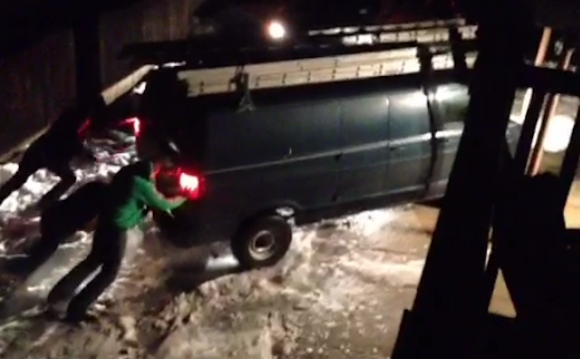 The Windowless Van That Couldn't (Get Freed From Ice Without A Bunch Of Help)