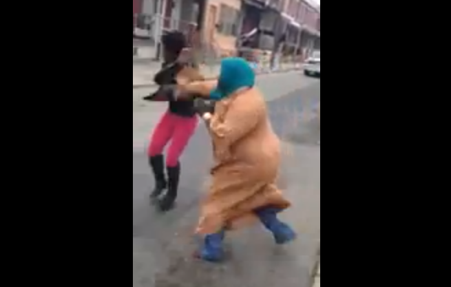 Here's A Southwest Philly Street Fight Involving A Lady In An Orange Gown