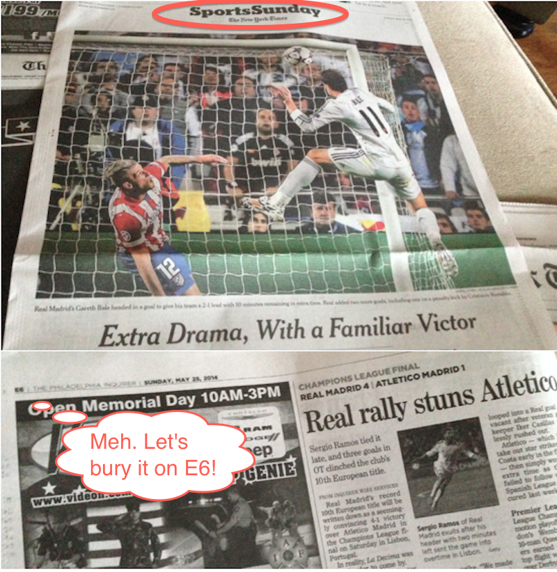 Comparing How The New York Times And Philadelphia Inquirer Covered The Champions League Final