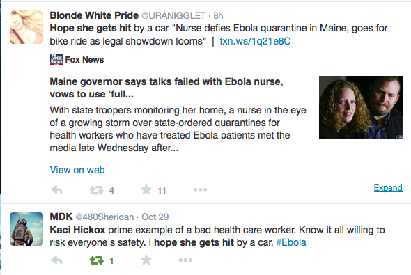 Meet The Assholes Who Want The Ebola Nurse To Get Hit By A Car